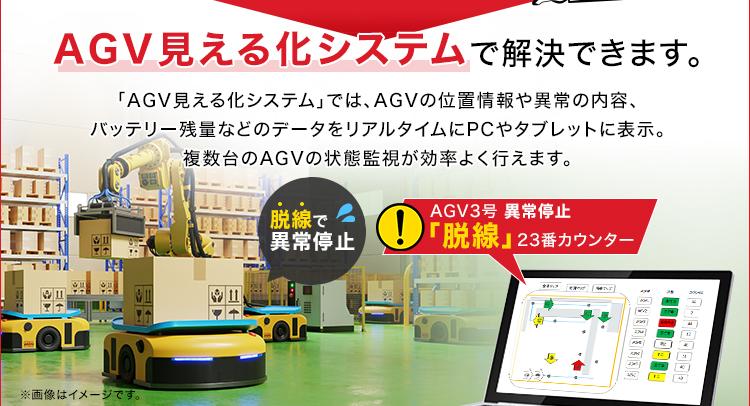 AGV見える化システムで解決できます。/「AGV見える化システム」では、AGVの位置情報や異常の内容、バッテリー残量などのデータをリアルタイムにPCやタブレットに表示。複数台のAGVの状態監視が効率よく行えます。