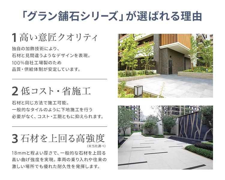 「グラン舗石シリーズ」が選ばれる理由/1.高い意匠クオリティ/独自の加飾技術により、石材と見間違うようなデザインを表現。100%自社工場製のため品質・供給体制が安定しています。/2.低コスト・省施工/石材と同じ方法で施工可能。一般的なタイルのように下地施工を行う必要がなく、コスト・工期ともに抑えられます。/3.石材を上回る高強度(※当社調べ)/18mmと程よい厚さで、一般的な石材を上回る高い曲げ強度を実現。車両の乗り入れや往来の激しい場所でも優れた耐久性を発揮します。