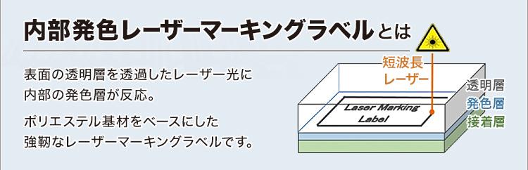 内部発色レーザーマーキングラベルとは/表面の透明層を透過したレーザー光に内部の発色層が反応。ポリエステル基材をベースにした強靭なレーザーマーキングラベルです。