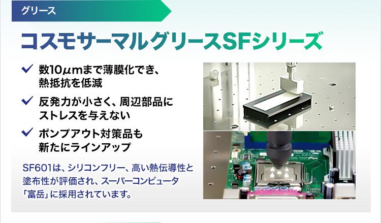 グリース/コスモサーマルグリースSFシリーズ/数10µmまで薄膜化でき、熱抵抗を低減/反発力が小さく、周辺部品にストレスを与えない/ポンプアウト対策品も新たにラインアップ/SF601は、シリコンフリー、高い熱伝導性と塗布性が評価され、スーパーコンピュータ「富岳」に採用されています。