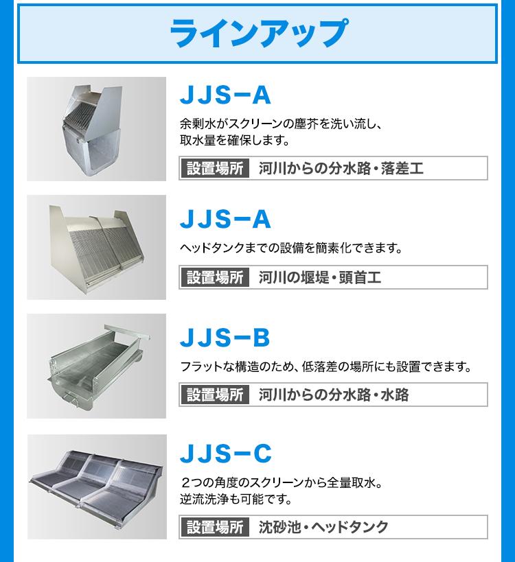 ラインアップ/JJS-A/余剰水がスクリーンの塵芥を洗い流し、取水量を確保します。/設置場所-河川からの分水路・落差工/JJS-A/ヘッドタンクまでの設備を簡素化できます。/設置場所-河川の堰堤・頭首工/JJS-B/フラットな構造のため、低落差の場所にも設置できます。/設置場所-河川からの分水路・水路/JJS-C/2つの角度のスクリーンから全量取水。逆流洗浄も可能です。/設置場所-沈砂池・ヘッドタンク