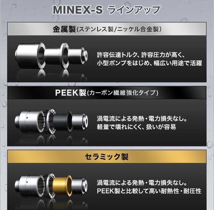 MINEX-S ラインアップ/金属製(ステンレス製/ニッケル合金製)/許容伝達トルク、許容圧力が高く、小型ポンプをはじめ、幅広い用途で活躍/PEEK製(カーボン繊維強化タイプ)/渦電流による発熱・電力損失なし。軽量で壊れにくく、扱いが容易/セラミック製/渦電流による発熱・電力損失なし。PEEK製と比較して高い耐熱性・耐圧性