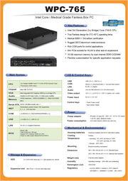 小型ファンレス医療用60601第3版適合のBOX型コンピュータ『WPC-765』 表紙画像