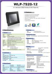 低価格ファンレス・12型ATOM-D525版タッチパネルPC『WLP-7920-12』 表紙画像