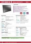 完全防塵・防水ファンレス・21.5型Celeron J1900(Quad Core)版タッチパネルPC『WTP-8B66-22』 表紙画像