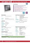 完全防塵・防水ファンレス・10型Celeron版パネルPCの広範囲動作温度版『WTP-8B66-10W』 表紙画像