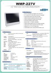 医療用の抗菌プラスチック筐体Core i5搭載21.5型フルHD液晶一体型ファンレス・タッチパネルPC『WMP-227V』 表紙画像