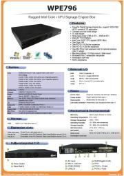 CORE i CPU搭載デジタルサイネージ用BOXコンピュータ『WPE-796』 表紙画像