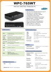 小型ファンレス医療用60601第3版適合のBOX型コンピュータ高範囲温度版『WPC-765WT』 表紙画像