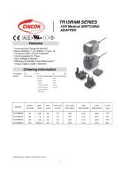 TR15RAM 医療用(IEC60601)AC/DCアダプタ(医療用)入力90V-264V 出力5V-24V 15W 表紙画像