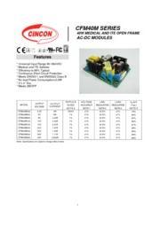 CFM40M  医療用 AC/DCスイッチング電源 入力90V-264V 出力3.3V-48V 40W 組み込み型電源 表紙画像