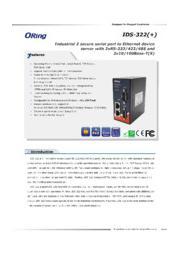 ORing 産業用シリアル-イーサネットデバイスサーバ【IDS-322】 表紙画像