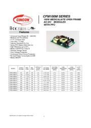 CFM100M  医療用 AC/DCスイッチング電源 入力90V-264V 出力5V-48V 100W 組み込み型電源 表紙画像