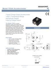 TE Connectivity Sensor Solutions社製 加速度計7530A 英文 表紙画像