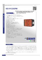 【増設可能/モジュールタイプ/産業ネットワーク向け/管理ギガビット光スイッチハブ】IGS-9122GPM 表紙画像