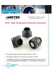 HTX - High Temperature Hermetic Connector 表紙画像