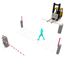 工場内の安全対策 人車分離でフォークリフトと人の衝突を防ぐ 製品画像
