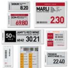 電子棚札ESLは、商品の情報や在庫数を無線でらくらく書換可能! 製品画像