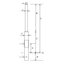 街路灯用 照明ポール『角形鋼管段付きポール(埋込み式)』 製品画像