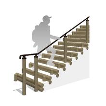 手すり付丸太階段【K4ウッド階段+ユニバーサル手すり】 製品画像